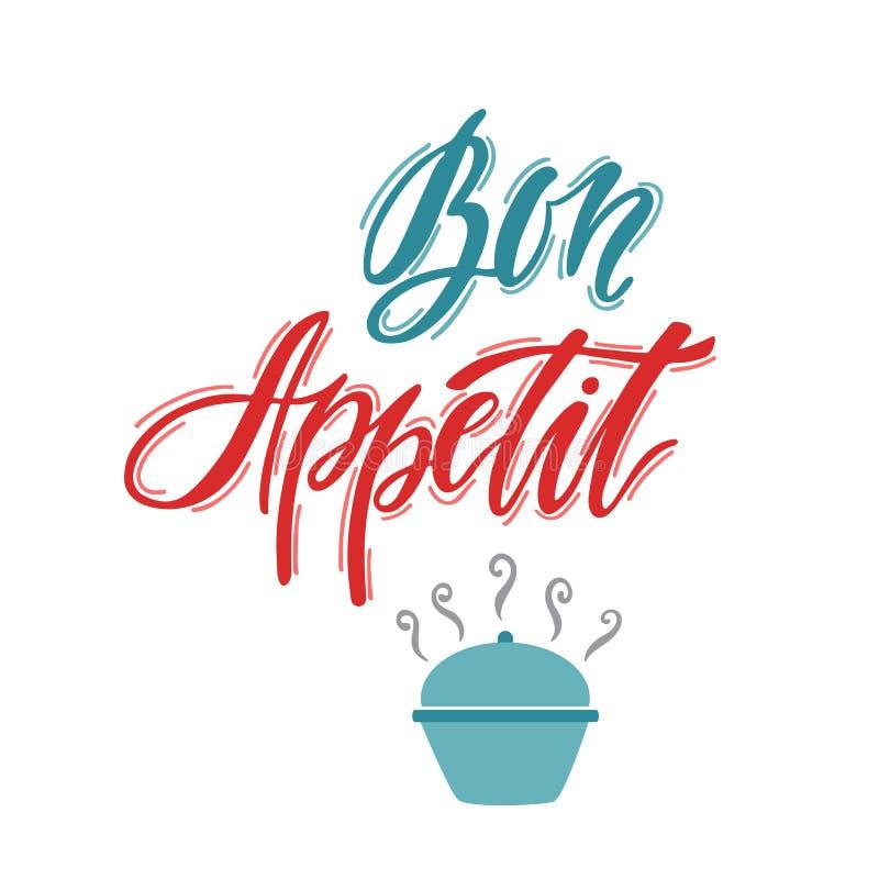 Bon Appetit Hand gezeichnete bedruckbare Kunst der Typografie lizenzfreie abbildung
