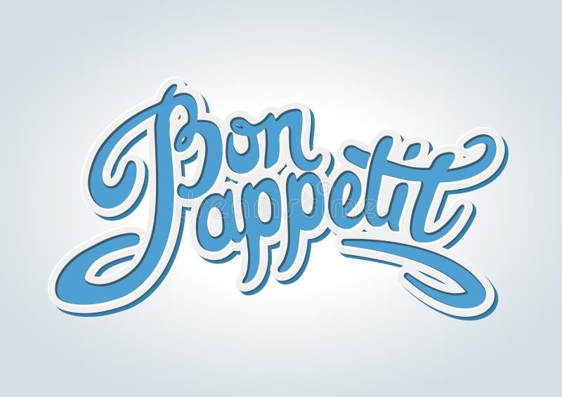 Bon appetit Hand gezeichnete Beschriftung stock abbildung