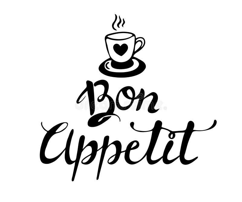 Bon appetit Hand gezeichnete Beschriftung  Getrennt auf weißem Hintergrund Auch im corel abgehobenen Betrag gekritzel lizenzfreie abbildung