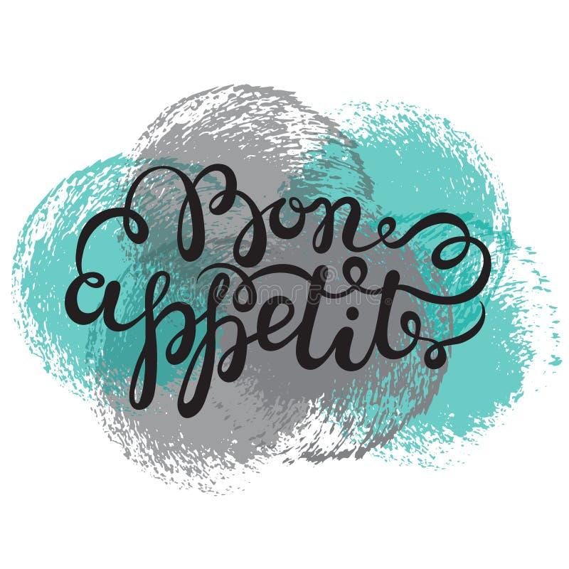 Bon appetit Hand gezeichnete Stift-Bürstenbeschriftung stock abbildung