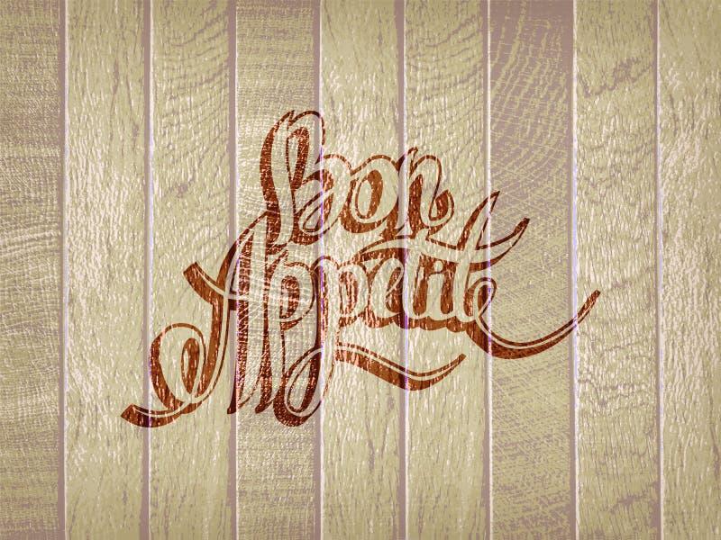 Bon Appetit-Handbeschriftung lizenzfreie abbildung