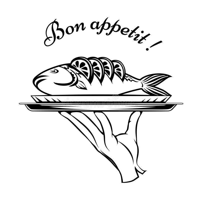 Bon Appetit-het element van het vissenontwerp stock illustratie