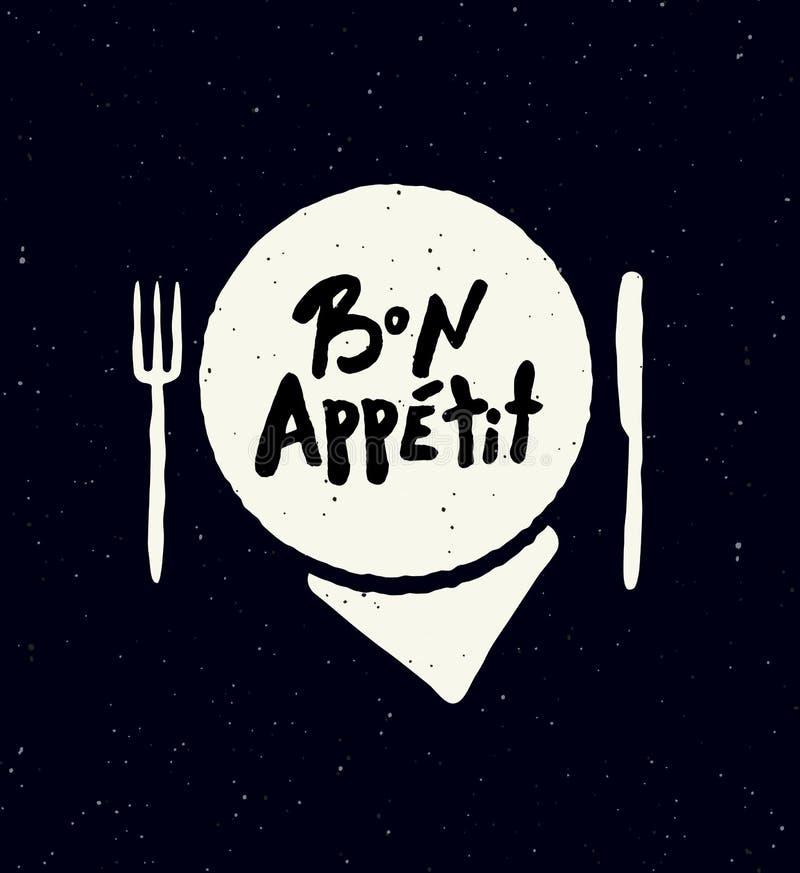 Bon Appetit Illustration av plattan, kniven och gaffeln vektor illustrationer
