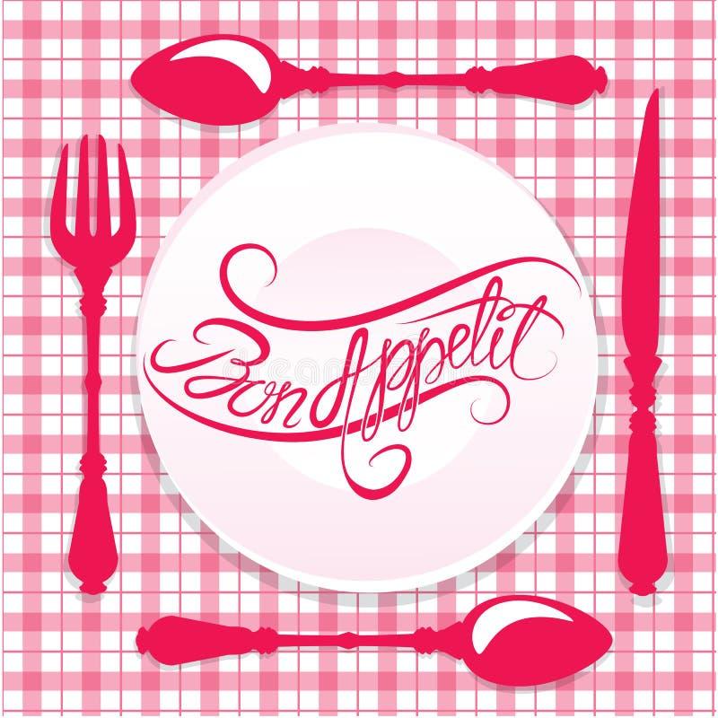 Bon appetit! Kalligraphischer Text auf Platte mit Gabel, Messer lizenzfreie abbildung