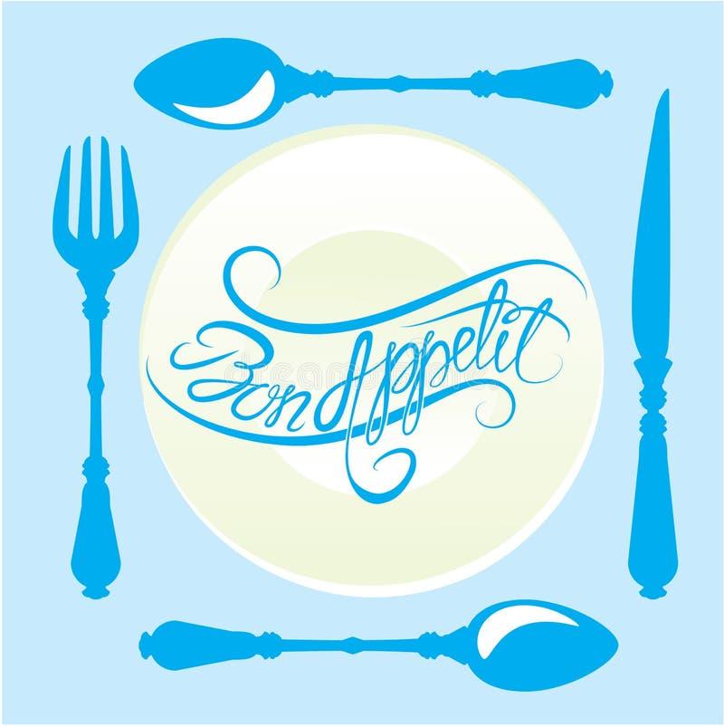Bon appetit! Kalligraphischer Text auf Platte mit Gabel, Messer und spo lizenzfreie abbildung