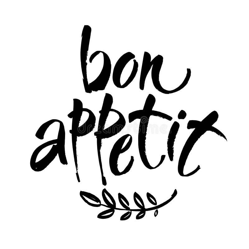 Bon appetit Karte Hand gezeichnet, Hintergrund beschriftend Tintenillustration Moderne Bürstenkalligraphie Getrennt auf weißem Hi lizenzfreie abbildung