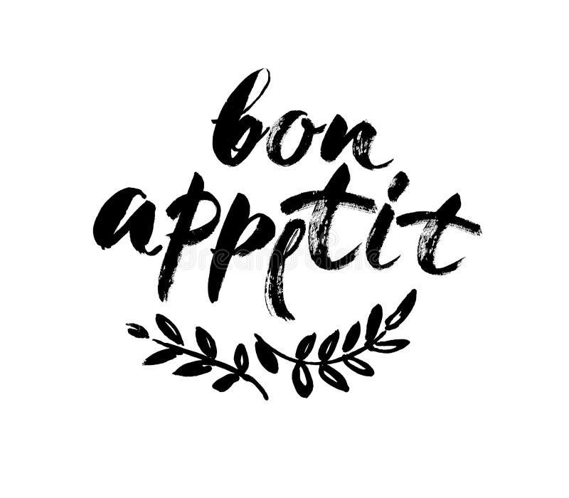 Bon appetit Karte Hand gezeichnet, Hintergrund beschriftend Tintenillustration Moderne Bürstenkalligraphie Getrennt auf weißem Hi stock abbildung