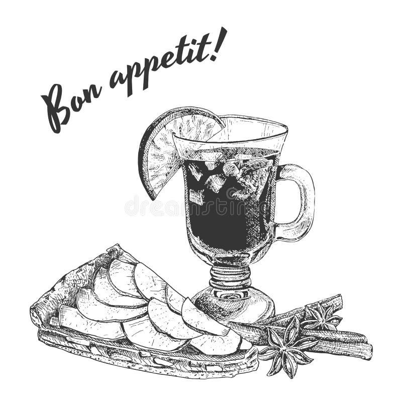 Bon appetit Karte mit Apfelkuchen, Becher Glühwein und Zimtstangen lizenzfreie abbildung