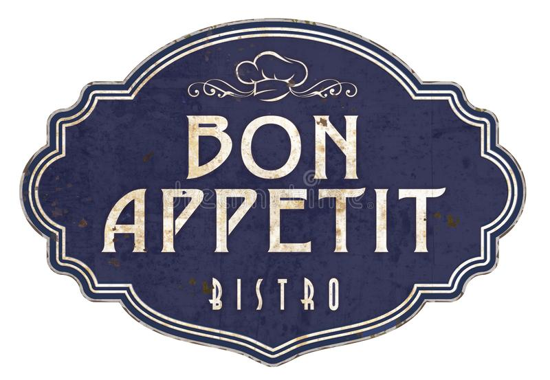 Bon Appetit Kitchen Sign Plaque viktorianska emaljbistroer royaltyfri illustrationer