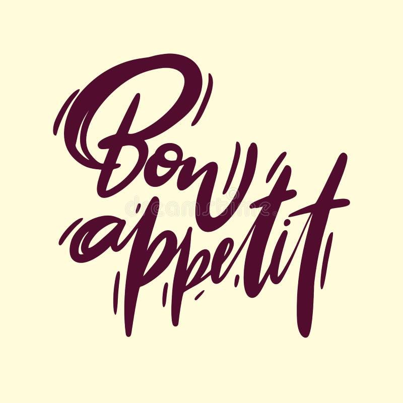 Bon Appetit-Logohandgezogene Beschriftung Vektorillustrationsskizze stock abbildung
