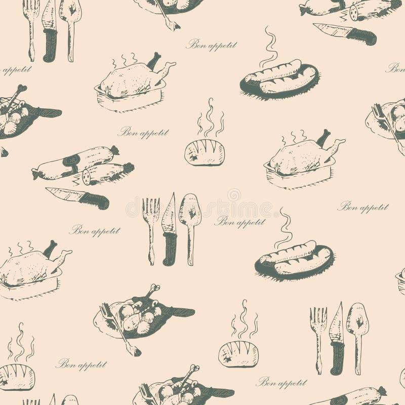 Bon appetit nahtloses Muster lizenzfreie abbildung