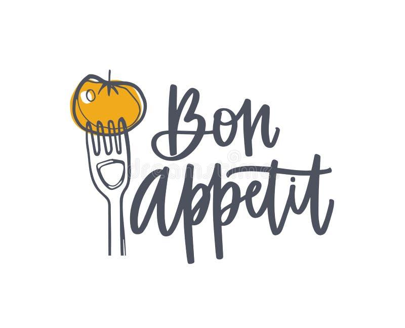 Bon Appetit-Phrase handgeschrieben mit kursivem kalligraphischem Guss und durch Tomate auf Gabel verziert Elegantes Beschriften u vektor abbildung