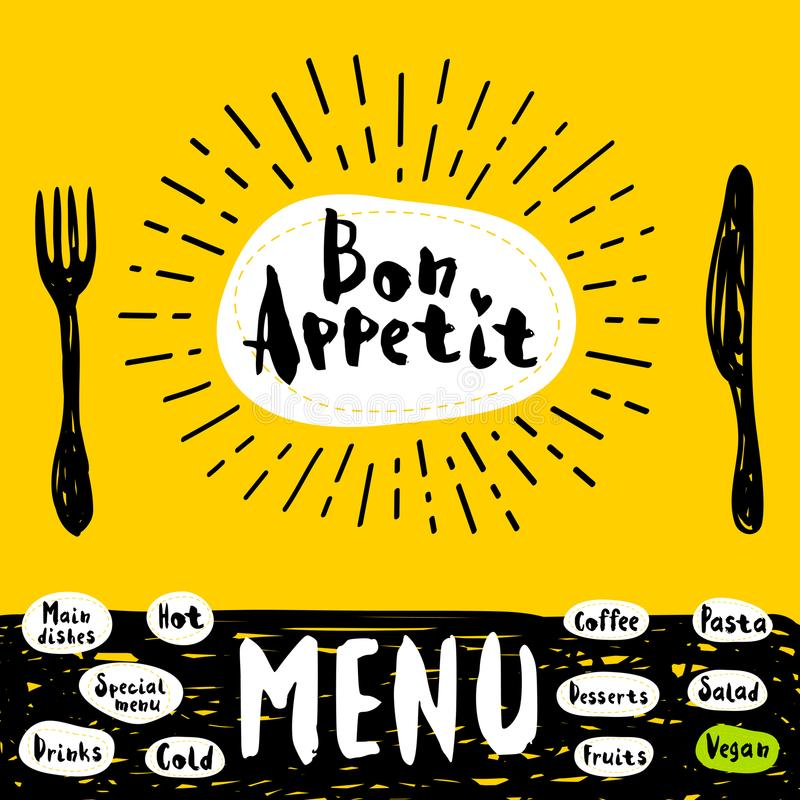 Logo menu set. Bon Appetit poster with fork and knife. Lettering, calligraphy logo, sketch style, light rays, heart, menu coffee, deserts, pasta, vegan drinks royalty free illustration
