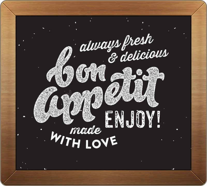 Bon appetit Retro- kulinarisches Zeichen stock abbildung