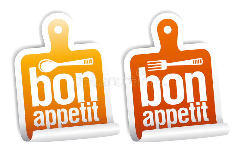 Bon appetit stickers. stock illustration