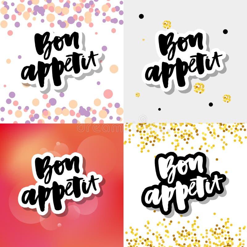 Bon Appetit-Text Vektorkalligraphie Sloganbeschriftung stock abbildung