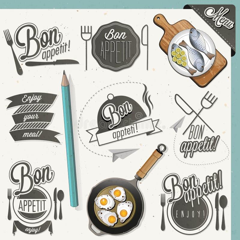 Bon Appetit! Tyck om ditt mål! stock illustrationer