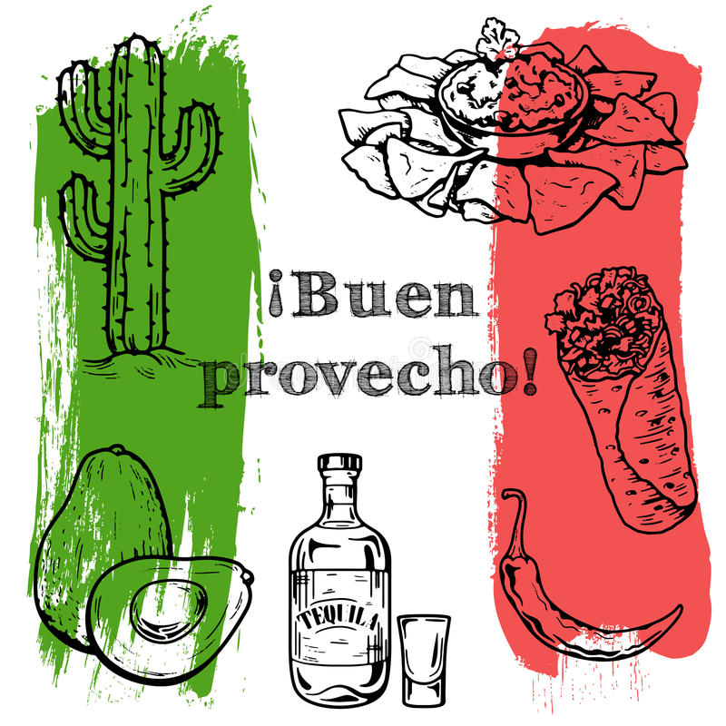 Bon Appetit Vector-Satz mexikanisches Lebensmittel stock abbildung