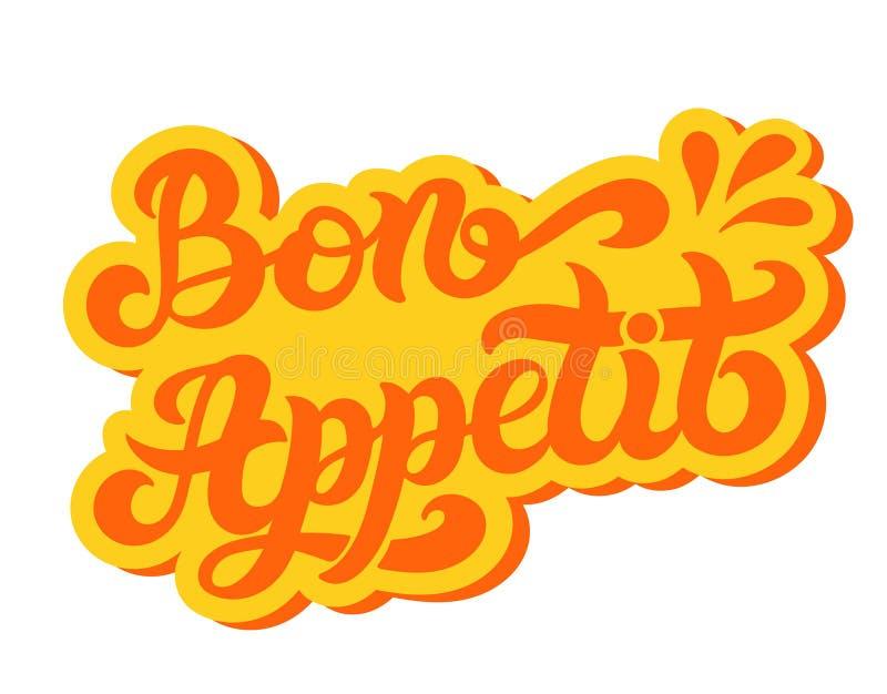 Bon Appetit Wort auf Französisch Hand gezeichnete Beschriftung vektor abbildung