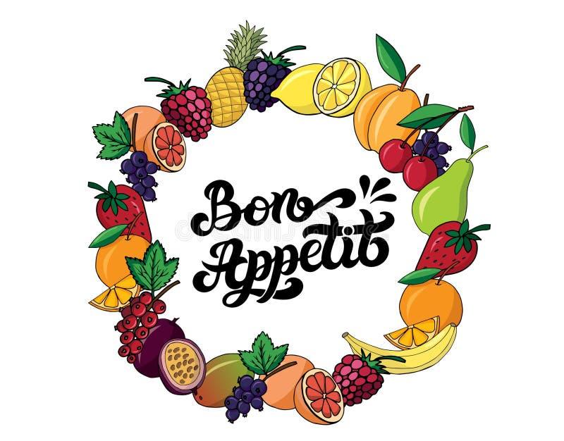 Bon Appetit Wort auf Französisch Hand gezeichnete Beschriftung lizenzfreie abbildung