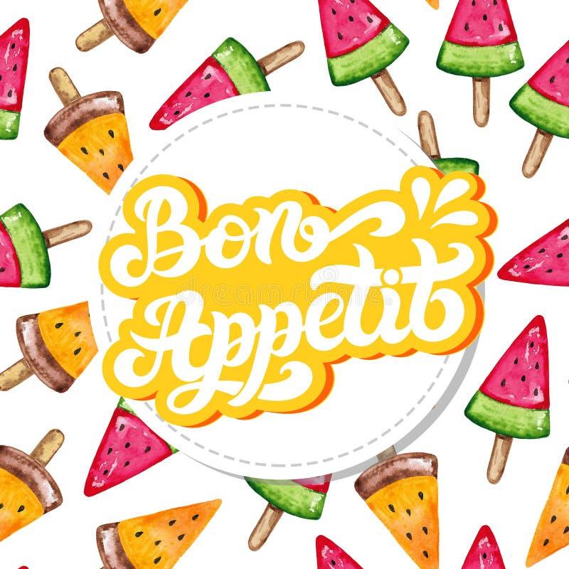 Bon Appetit Wort auf Französisch Hand gezeichnete Beschriftung stock abbildung