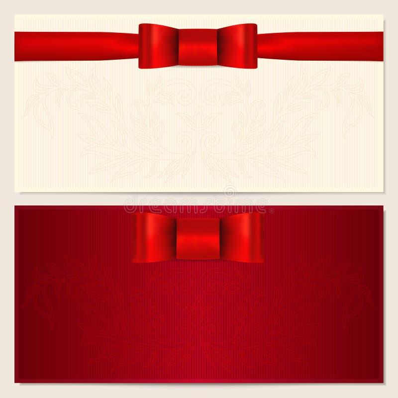 Bon, certificat-prime, chèque-cadeau, bon illustration stock