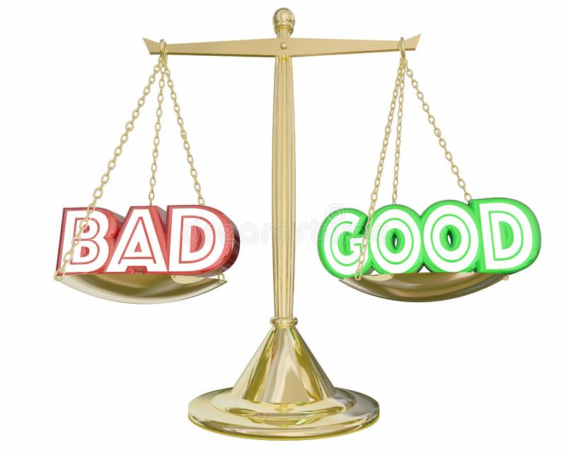 Bon contre la mauvaise échelle pesant les choix négatifs positifs 3d Illustra illustration stock