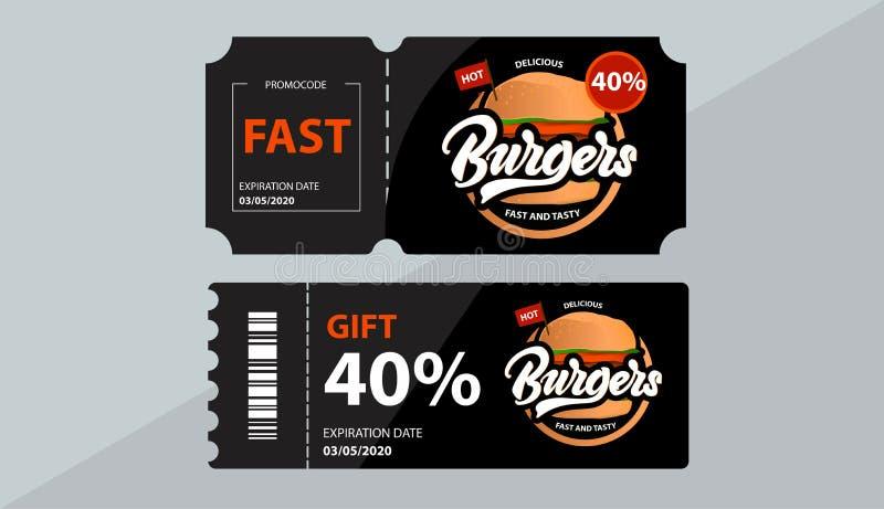 Bon d'hamburgers Voitures de cadeau avec le code de promo Vente Vecteur illustration stock