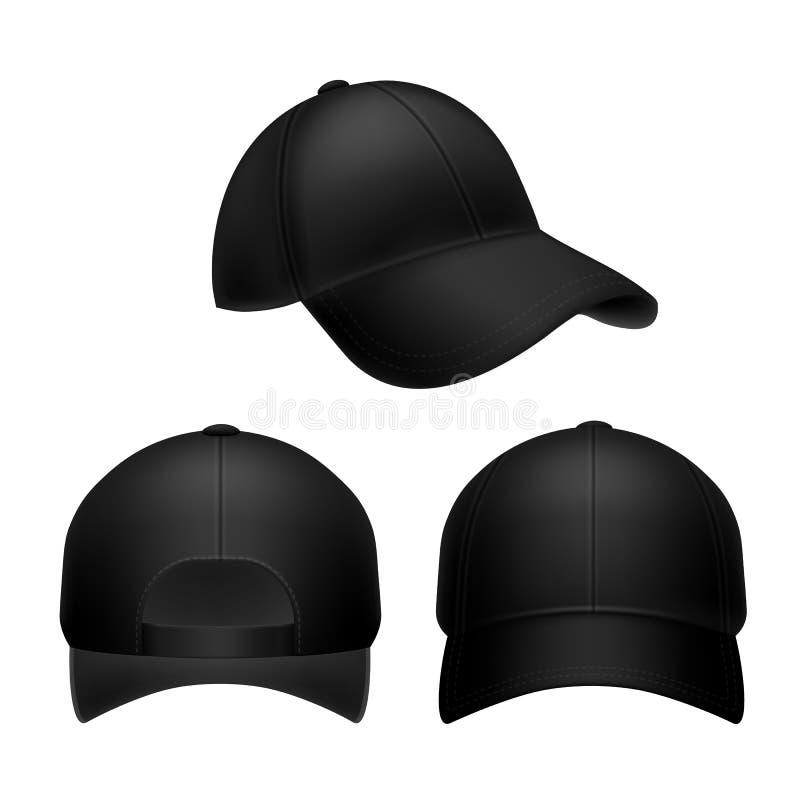 Bon? de beisebol preto Modelo vazio do chapéu, tampões do headwear na parte traseira, parte dianteira e vista lateral Tampão unif ilustração stock
