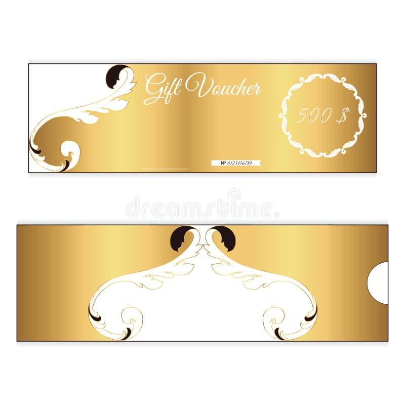 Bon de cadeau élégant de remise de couleur d'or Ornement feuillu dans le style victorien Pour des boutiques illustration stock