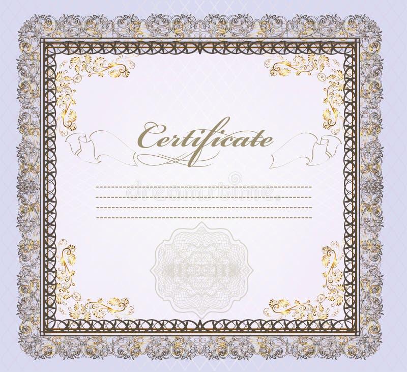 Bon de certificat ou de cadeau avec la place pour le texte pour la conception illustration de vecteur