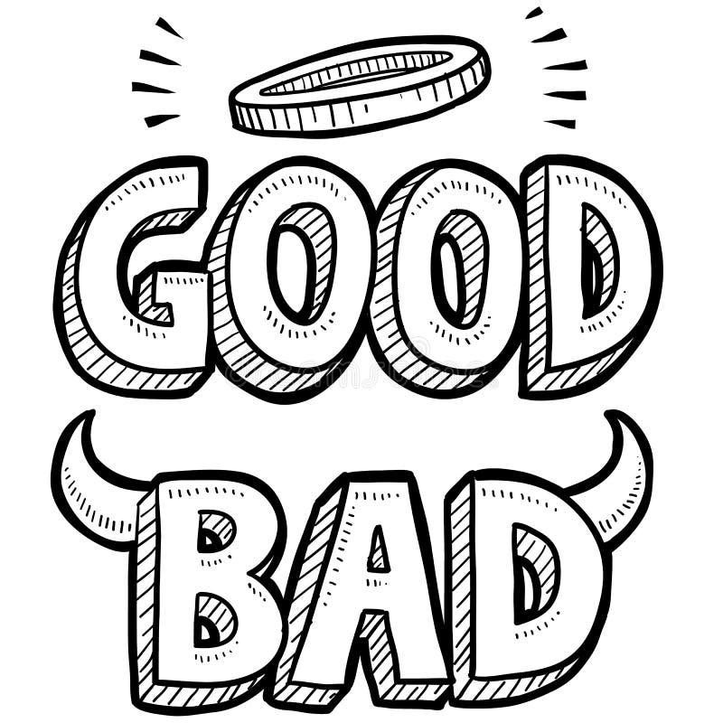 Bon et mauvais croquis moral illustration de vecteur