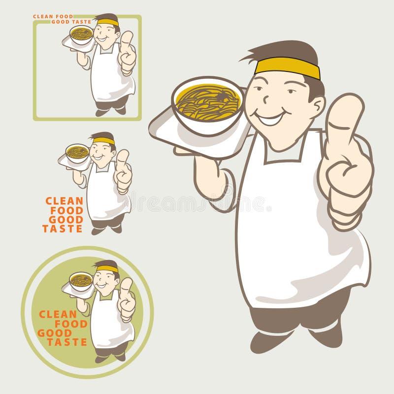 Bon goût de nourriture propre actuelle temporaire asiatique de chef illustration de vecteur