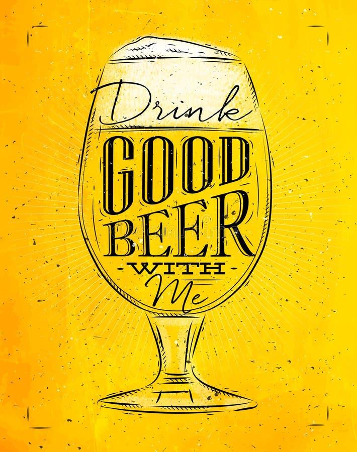 Bon jaune de bière d'affiche illustration de vecteur
