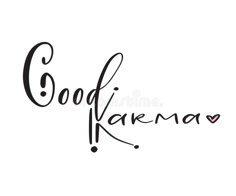 Bon karma - copie moderne de calligraphie Conception typographique d'affiche Vecteur imprimable calligraphique illustration libre de droits