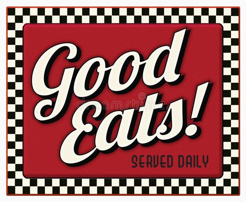 Bon mange le signe quotidien servi de wagon-restaurant illustration de vecteur