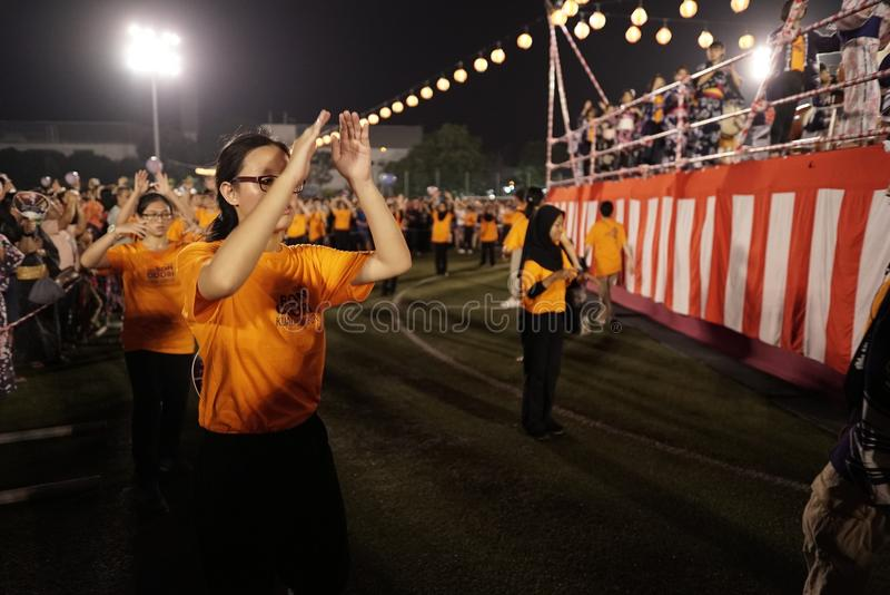 Bon Odori Dance Performance imagenes de archivo