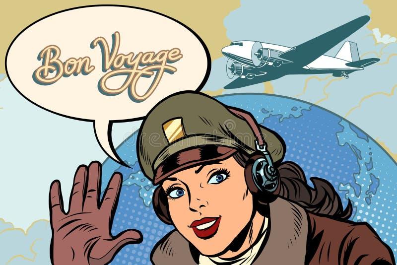 Bon podróży dziewczyny kobiety lotnika retro pilot royalty ilustracja