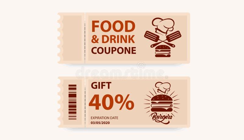Bon sur la nourriture et les boissons Carte de billet avec le cadeau Vecteur illustration de vecteur