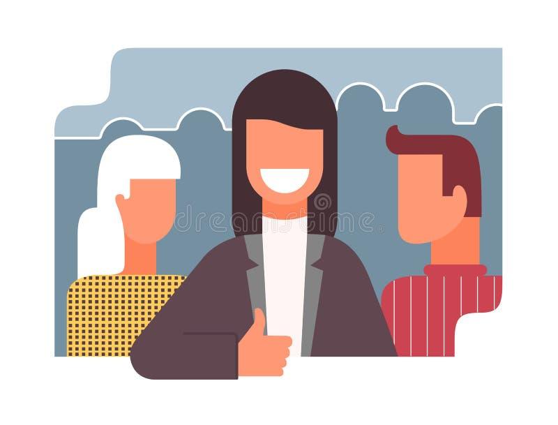 Bon travail de bureau collectif, icône plate de vecteur de style illustration stock