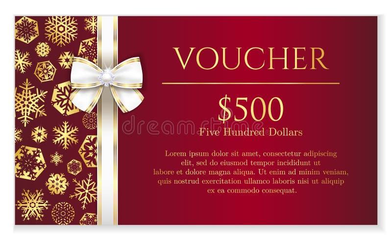 Bon van luxe de rode Kerstmis met gouden sneeuwvlok royalty-vrije illustratie