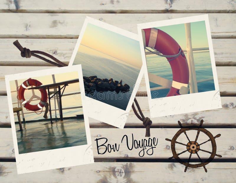 Bon voyage. Holiday polaroids wishing bon voyage royalty free illustration