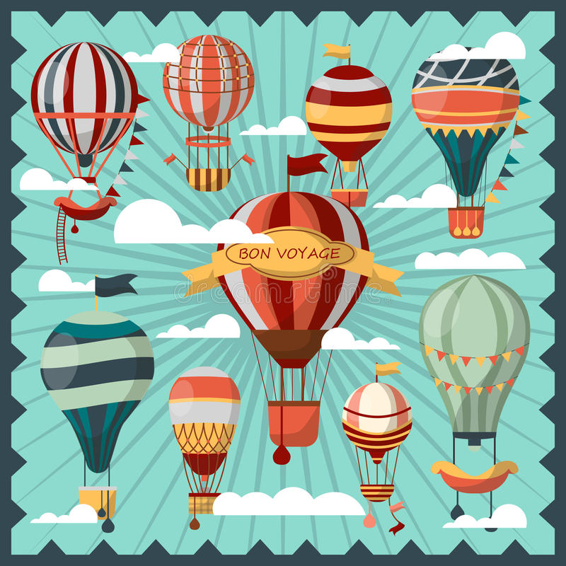 Bon Voyage Air Balloons in Clouds Collection. Bon Voyage air balloons in white clouds vector collection. Ballons for people to fly in sky and observe city view royalty free illustration