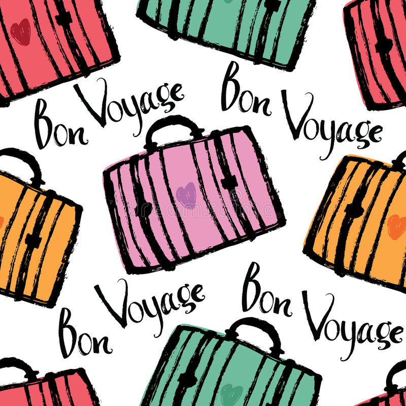Bon Voyage Background met kleurrijke koffers vector illustratie