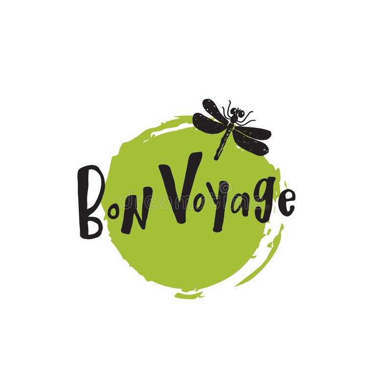 Bon Voyage Biglietto postale della mano Illustrazione disegnata a mano unica della libellula illustrazione di stock