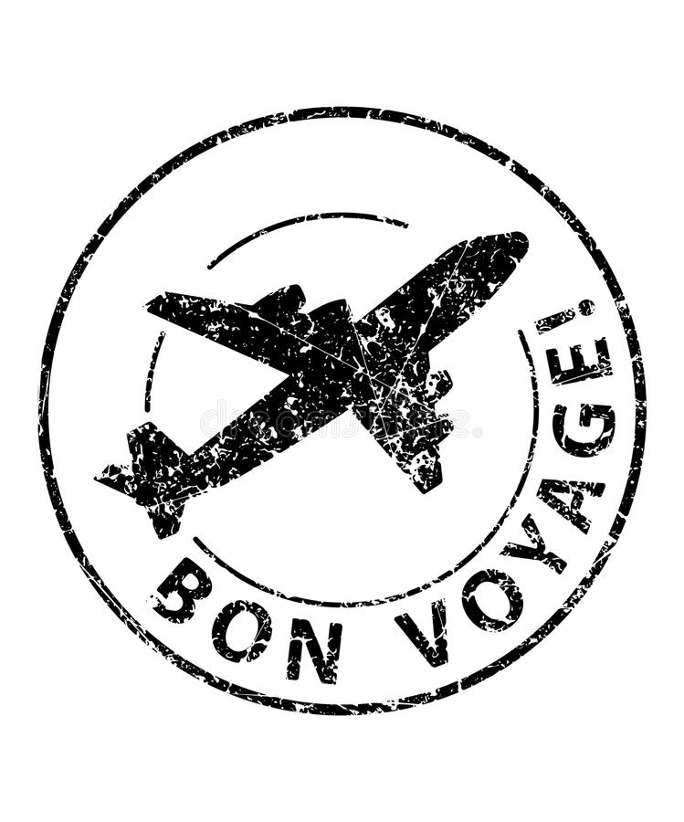 Bon voyage black rubber stamp with silhouette of airplane.  royalty free illustration