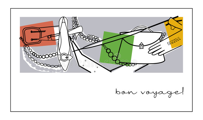 Bon Voyage Card. Ready made post card bon voyage royalty free illustration