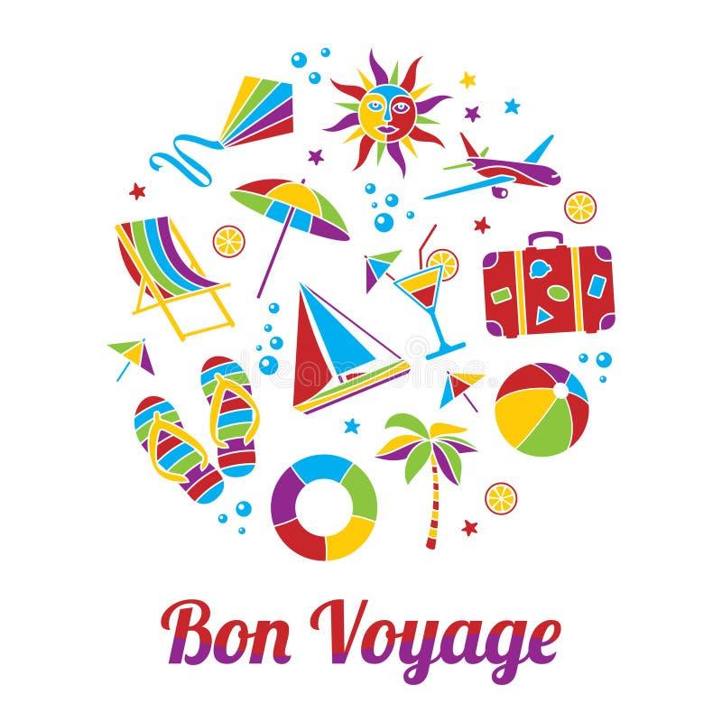 Bon Voyage card. Vacation illustration with Bon Voyage headline in flat mosaic style royalty free illustration