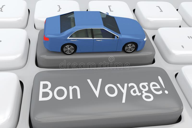 Bon Voyage! concept. 3D illustration of computer keyboard with the script Bon Voyage! on a gray button, and a car placed on another button royalty free illustration