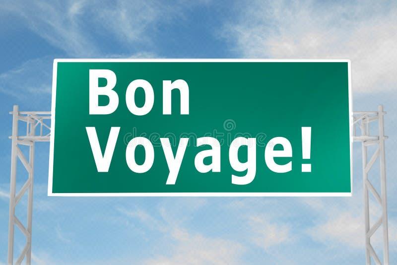 Bon Voyage! concept. 3D illustration of Bon Voyage! script on road sign, adventure, airplane, banner, business, calligraphy, card, decorative, design royalty free illustration